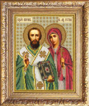 Вышивка бисером- Святые Киприан и Устина