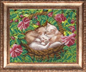 """Набор для вышивки бисером """"Котята в лукошке"""""""