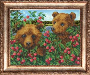 """Набор для вышивки бисером """"Медвежата в малиннике"""""""